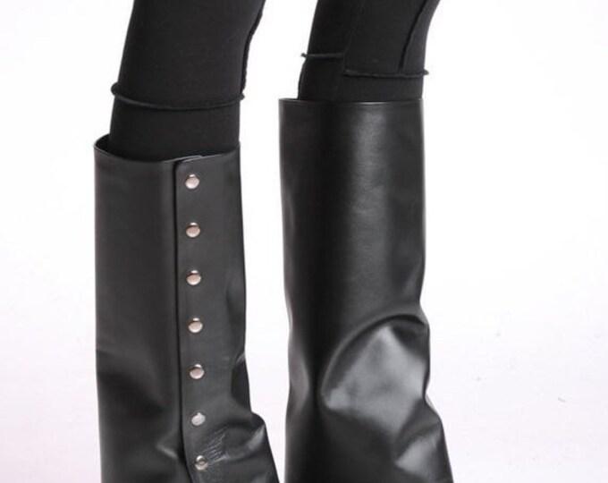 SALE NEW Extravagant Black Heels/Leather Heels/Leather Black Boots/Sexy Heels/Black Boots/Leather High Heels