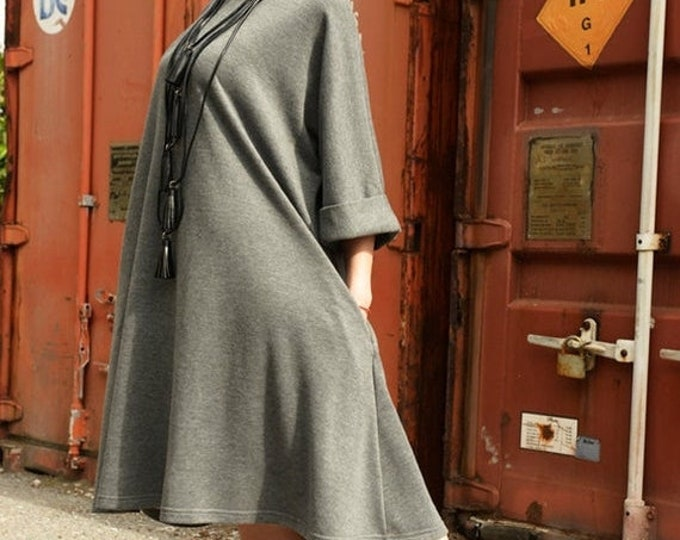SALE Loose Maxi Dress/Knee Length Grey Dress/Oversize Tunic Top/Plus Size Pocket Dress/Plus Size Maxi Dress/Grey Kaftan/Everyday Casual Dres