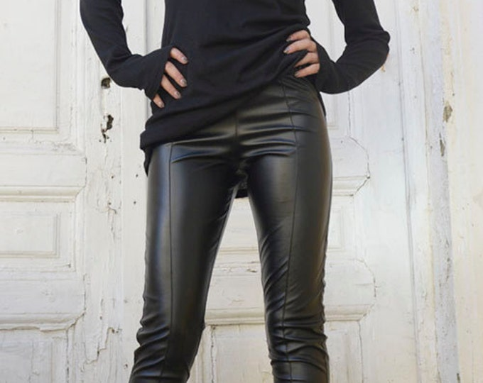 Black Leather Pants /Tight Extra Long Leggings /Slim Fit Black Pants / Long Black Pants /Leather Leggings / Vegan Leather Pants / Sexy Pants