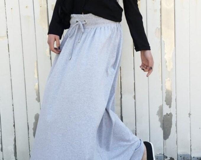 SALE Grey Loose Skirt / Long Pocket Skirt / Extravagant Maxi Skirt by METAMORPHOZA