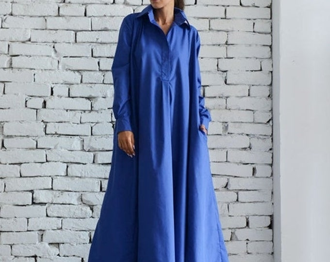 SALE Blue Maxi Dress/Plus Size Kaftan/Long Sleeve Casual Dress/Oversize Shirt Dress/Blue Loose Tunic Dress/Evening Blue Dress by METAMORPHOZ