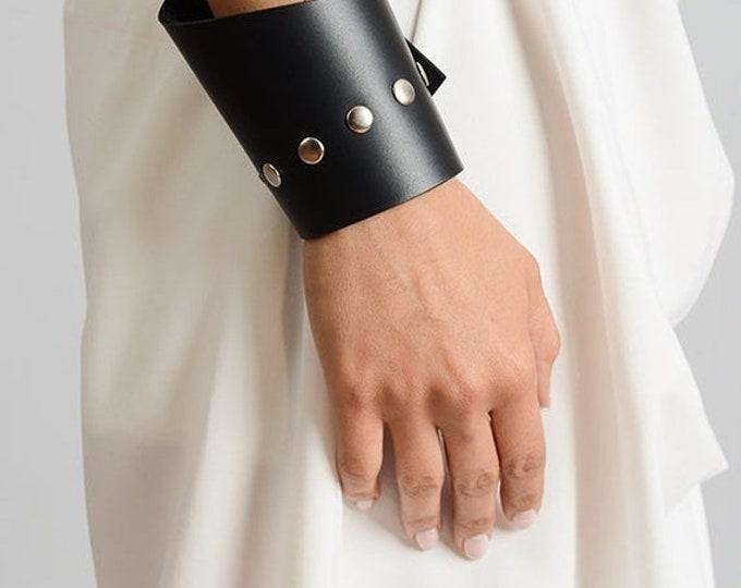 SALE Asymmetric Leather Bracelet/Black Genuine Leather Studded Bracelet/Black Leather Cuff with Studs/Handmade Leather Wristband/Black Cuff