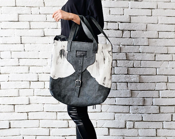 Grey and White Tote Bag/Extravagant Leather Bag/Casual Shoulder Bag/Genuine Leather Clutch/Shoulder Bag/Leather Handbag/Modern Large Purse