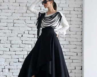 SALE Maxi Black Skirt/Asymmetric Loose Skirt/Long Skirt/Elegant Evening Skirt/Classic Modern Black Skirt/Oversize Maxi Skirt/High Waist Skir