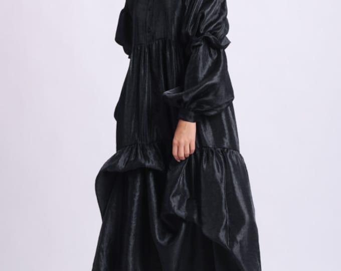 NEW Black Asymmetric Dress/Plus Size Maxi Dress/Oversize Sleeve Shirt Dress/Extravagant Black Taffeta Dress/Collar Dress with Long Sleeve