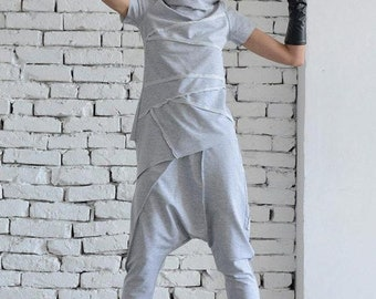 SALE Light Grey Sport Set/Loose Two Piece/Asymmetric Tunic/Drop Crotch Pants/Hooded Tunic/Grey Casual Suit/Short Sleeve Hoodie/Grey Maxi Pan