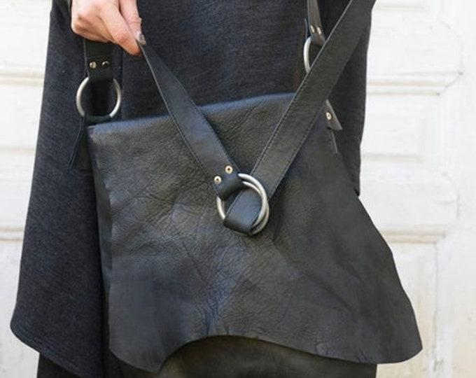 SALE Genuine Leather Black Bag / High Quality Tote / Extravagant Asymmetrical Shoulder Bag by METAMORPHOZA
