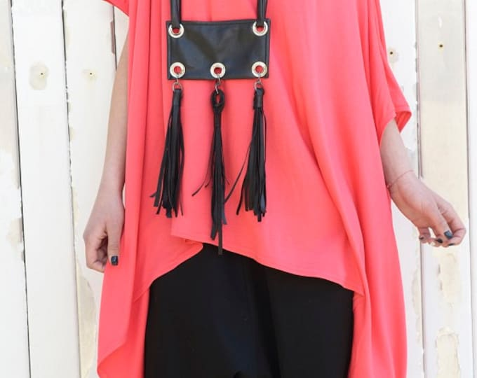 Black Necklace / Leather Accessory / Extravagant Accessory / Large Black Necklace / Casual Accessory