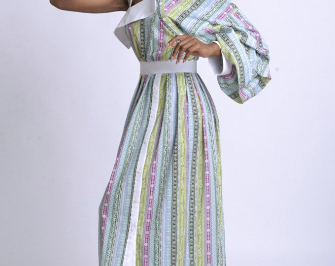 LIMITED EDITION Extravagant Long Loose Dress/Colorful Pattern One Sleeve Kaftan/Puffy Sleeve Summer Dress/Multi Color Maxi Dress with Collar