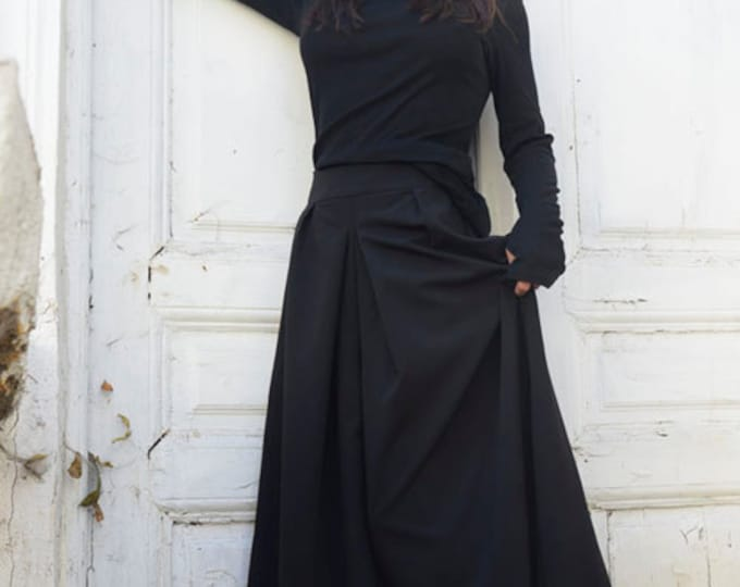 Black Maxi Pants / Wide Leg Long Pants / Oversize Skirt Pants / Hidden Pocket Pants by METAMORPHOZA