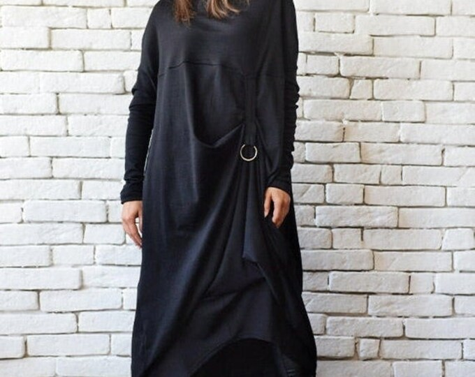 SALE Plus Size Maxi Dress/Alternative Fashion Dress/Black Kaftan/Long Sleeve Asymmetric Tunic/Loose Dress with Metal Ring/Casual Everyday Dr