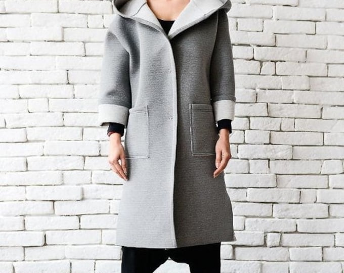 SALE Grey Maxi Coat/Loose Hooded Jacket/Oversize Warm Coat/Grey Neoprene Coat/Comfortable Winter Coat/Plus Size Jacket/Large Hood Maxi Coat