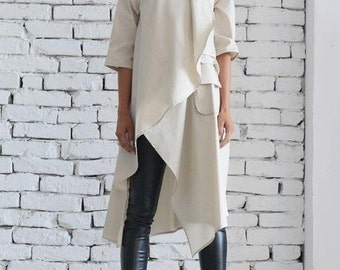 Beige Asymmetric Shirt/Extravagant Oversize Tunic/Half Sleeve Casual Top/Short Maxi Dress/Cream Loose Shirt Dress by METAMORPHOZA