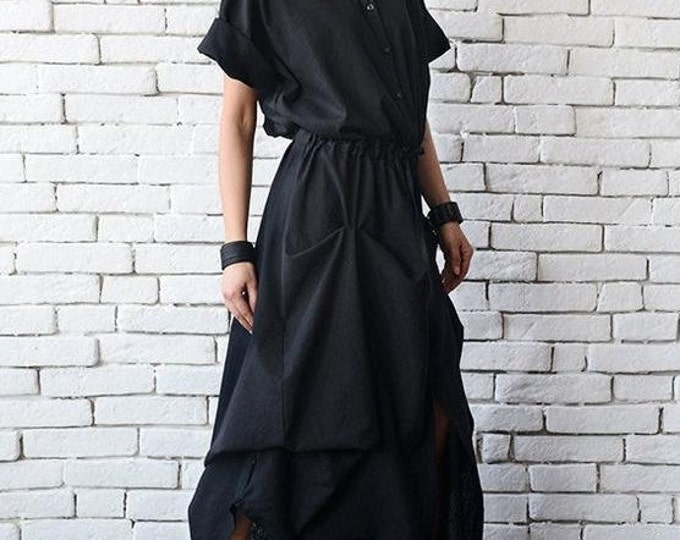 Long Black Linen Dress/Extravagant Short Sleeve Kaftan/Casual Asymmetric Loose Dress with String/Comfortable Shirt Collar Dress/Oversiz