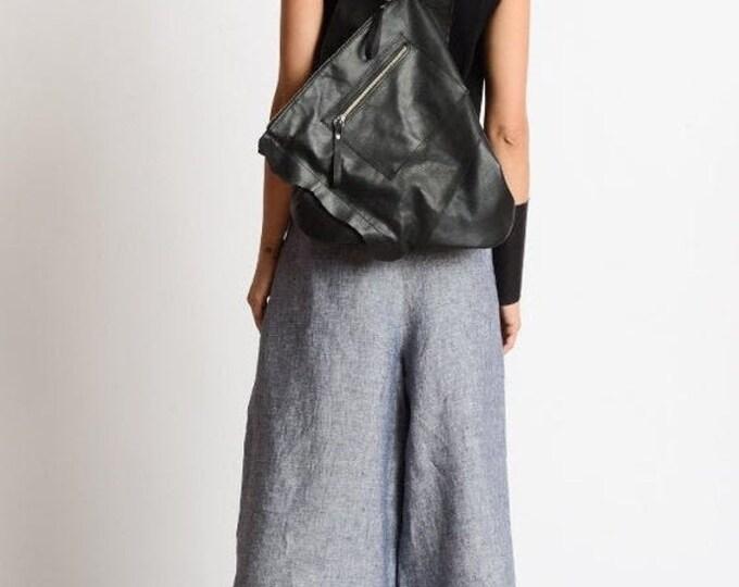 SALE Extravagant Leather Backpack/Black Handmade Bag/Casual Rucksack/Everyday Shoulder Bag/Black Triangle Bag/Black Genuine Leather Satchel