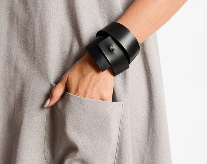 SALE Black Genuine Leather Bracelet/Leather Wrap Bracelet/Extravagant Hand Accessory/Handmade Bracelet/Extra Long Bracelet/Black Leather Ban