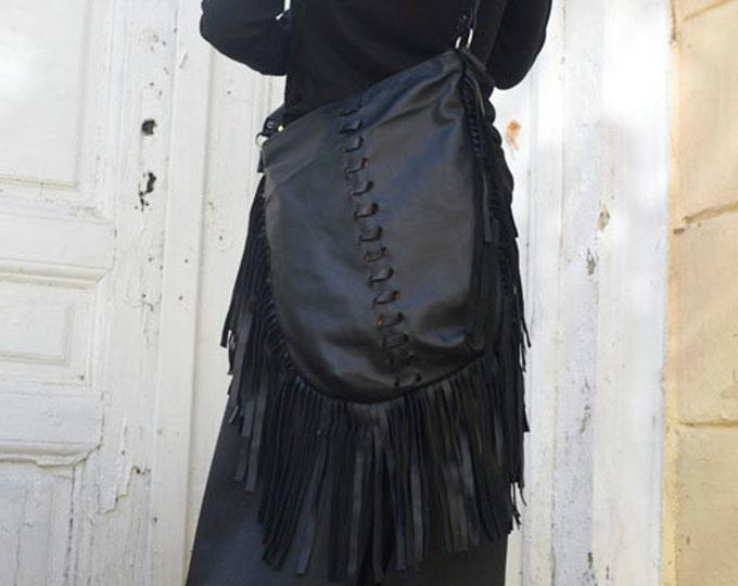Maxi Black Bag/Fringe Leather Bag/Black Tote Bag/Genuine Leather Handbag/Extravagant Shoulder Bag/High Quality Tote Squire Large Bag