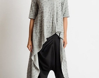 Extravagant Asymmetric Tunic/Long Short Tunic Top/Short Sleeve Grey Tunic/Loose Extravagant Top/Loose Maxi Tunic/Grey Distressed Tunic