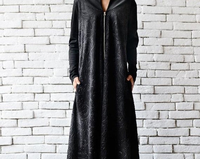 SALE Black Maxi Dress/Long Zipper Dress/Oversize Black Kaftan/Plus Size Maxi Dress/Long Sleeve Dress/Loose Black Dress/Comfortable Black Dre