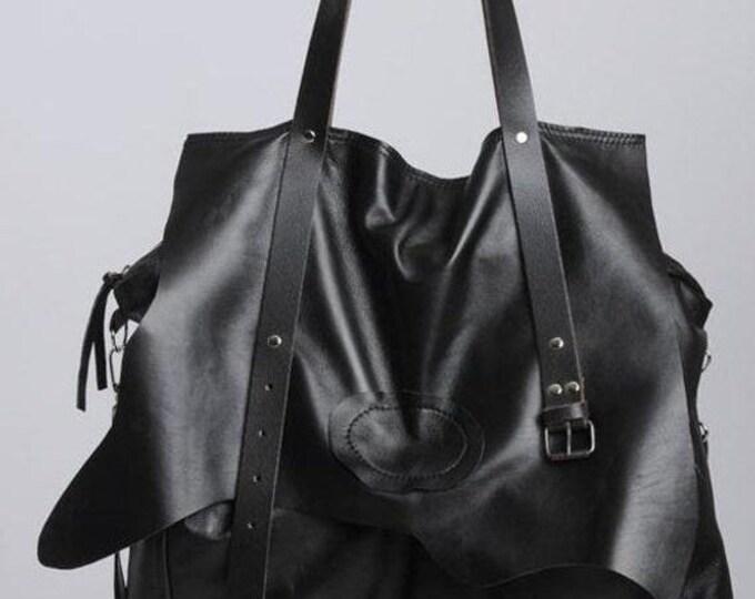 SALE Extravagant Leather Belt Bag/Maxi Black Genuine Leather Bag/Oversize Tote Bag with Belt/Large Black Purse/Black Designer Bag/Everyday B