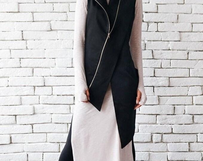 SALE Extravagant Black Vest/Casual Long Top/Sleeveless Elegant Coat/Asymmetric Zipper Top/Black Collar Top/Comfortable Formal Vest/Cut Out T