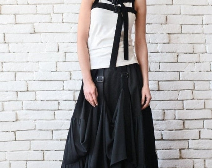 SALE Long Maxi Skirt/Extravagant Asymmetric Skirt with Front Accent/Long Loose Black Skirt/Black Cotton Skirt/Black Maxi Skirt/Oversize Skir