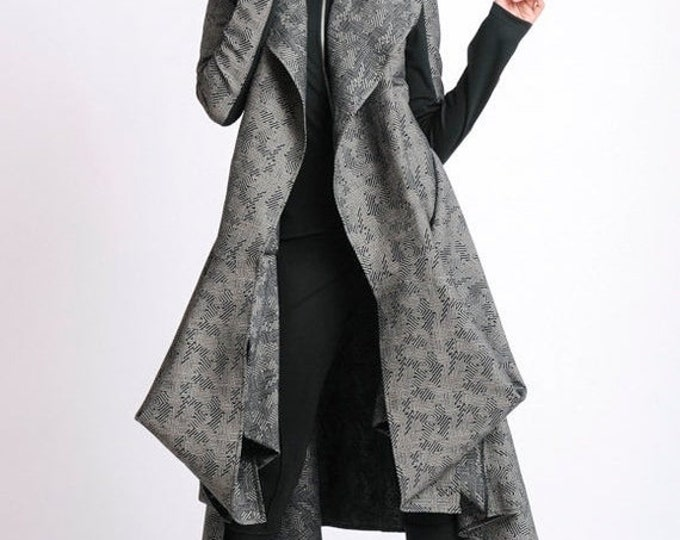 SALE Extravagant Pattern Coat/Asymmetric Oversize Tunic/Long Sleeve Elegant Coat/Loose Casual Jacket/Asymmetric Coat/Long Comfortable Coat