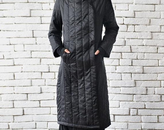 SALE Extravagant Black Coat/Long Loose Jacket/Oversize Black Cardigan/Black Maxi Coat/Quilted Wool Coat/Large Collar Oversize Top/Cozy Coat