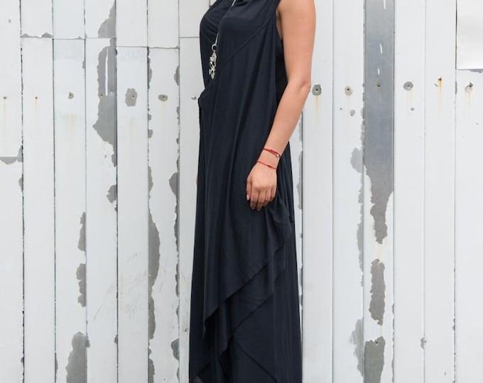Maxi Black Dress / Draped Belted Dress / Oversize Long Tunic / Loose Casual Sleeveless Dress / Elegant Evening Formal Dress by METAMORPHOZA
