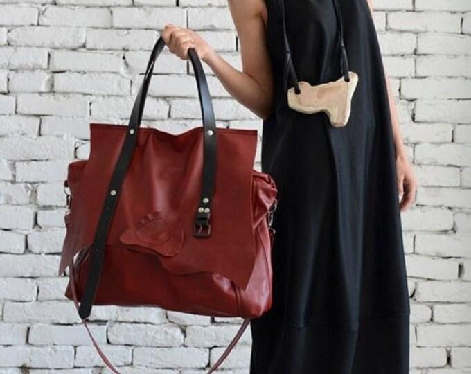 SALE Maxi Red Genuine Leather Bag/Large Tote Bag/Extravagant Belt Bag/Oversize Handbag/Maxi Tote/High Quality Leather Bag by METAMORPHOZA