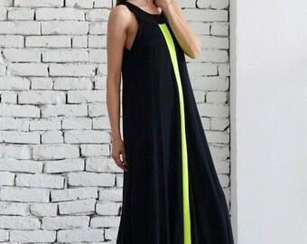 8f314194365a5 SALE Maxi Black Dress / Loose Woman Dress / Neon Line Dress / Kaftan / Plus  Size Maxi Dress / Black Maxi Dress/ Oversize Long Dress/ Evening