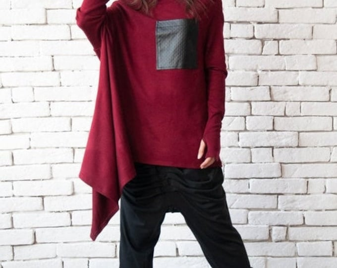 SALE Burgundy Loose Tunic/Long Sleeve Extravagant Top/Black Leather Pocket Tunic/Asymmetric Wine Shirt/Oversize Loose Blazer/Plus Size Top