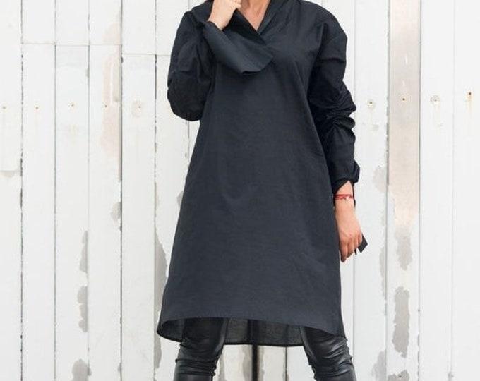 SALE Oversize Black Shirt / Cotton Black Shirt / Loose Top with Sleeves / Black Maxi Dress / Short Tunic Dress / Plus Size Maxi Dress / Blac