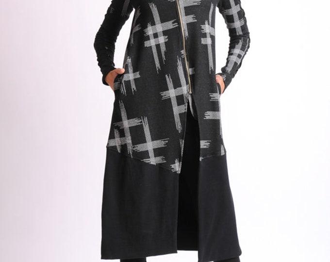 Long Cardigan/ Pattern Tunic Dress/Loose Cardigan/Long Sleeve Cardigan/Loose Oversize Blazer/Extravagant Casual Jacket/Long Zipper Top