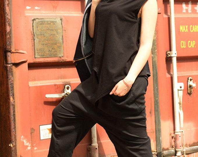 XXL, XXXL Asymmetrical Black Top / Extravagant Pink Blouse / Loose Urban Style Tunic by METAMORPHOZA