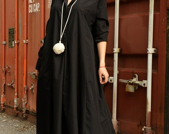 Black Shirt Dress /Black Maxi Dress /Long Sleeve Dress / Oversize Black Tunic Dress / Plus Size Collar Dress / Formal Kaftan by METAMORPHOZA