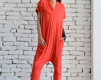 Red Casual Jumpsuit/Oversize Summer Suit/Short Sleeve Loose Tunic/Red Harem Pants/Loose Jumpsuit/Plus Size Red Overall/Maxi Onepiece