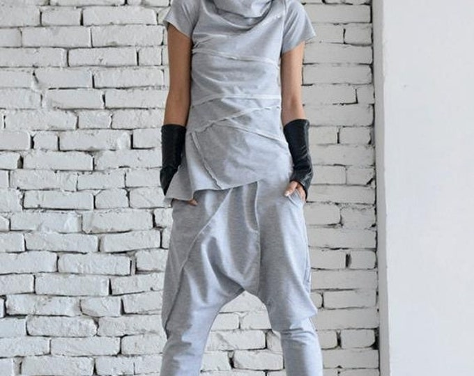 SALE Grey Loose Tracksuit/Oversize Casual Set/Grey Harem Pants/Asymmetrical Grey Top/Two Piece Modern Set/Short Sleeve T-shirt/Street Fashio