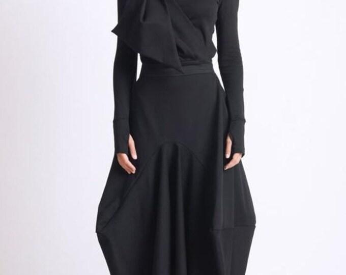 SALE Asymmetric Black Skirt/Loose Long Skirt/Black Maxi Skirt/Extravagant Oversize Skirt/Avant Garde Jumpsuit Skirt/Black Maxi Skirt