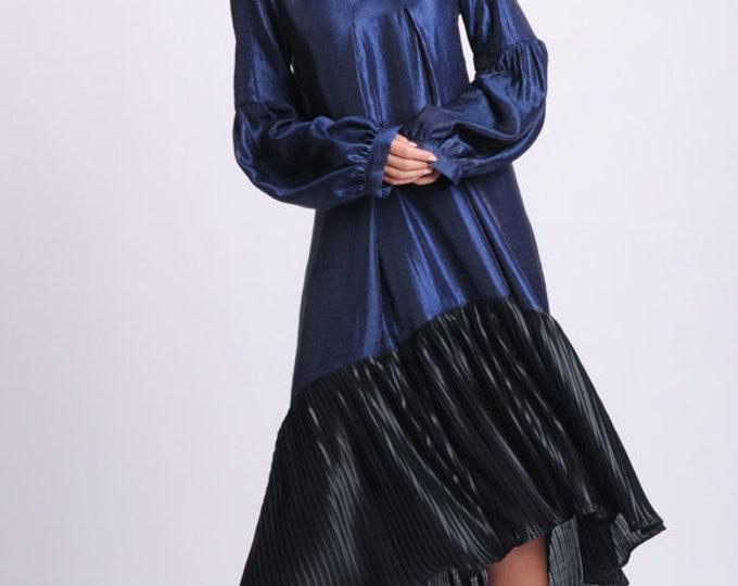 NEW Black and Blue Extravagant Dress/Long Sleeve Asymmetric Dress/Two Color Kaftan/Plus Size Maxi Dress/Oversize Sleeve Dress/Pleated Dress