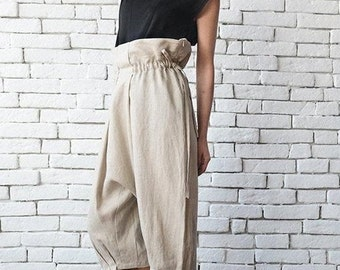 SALE Beige Loose Harem Pants / Maxi Linen Pants with Belt / Draped Drop Crotch Pants / Spring Maxi Pants / Midi Casual Pants by METAMORPHOZA