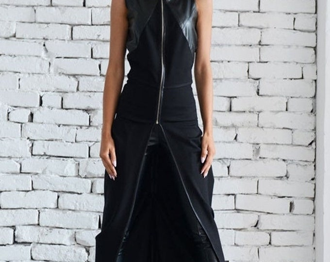 SALE Asymmetric Black Vest / Sleeveless Black Tunic / Long Zipper Top / Leather Vest / Sleeveless Leather Coat / Chain Detail Jacket