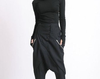 SALE Drop Crotch Maxi Pants/Extravagant Loose Trousers/Long Black Pants/Oversize Maxi Pants/Casual Plus Size Trousers/Fallen Bottom Pants