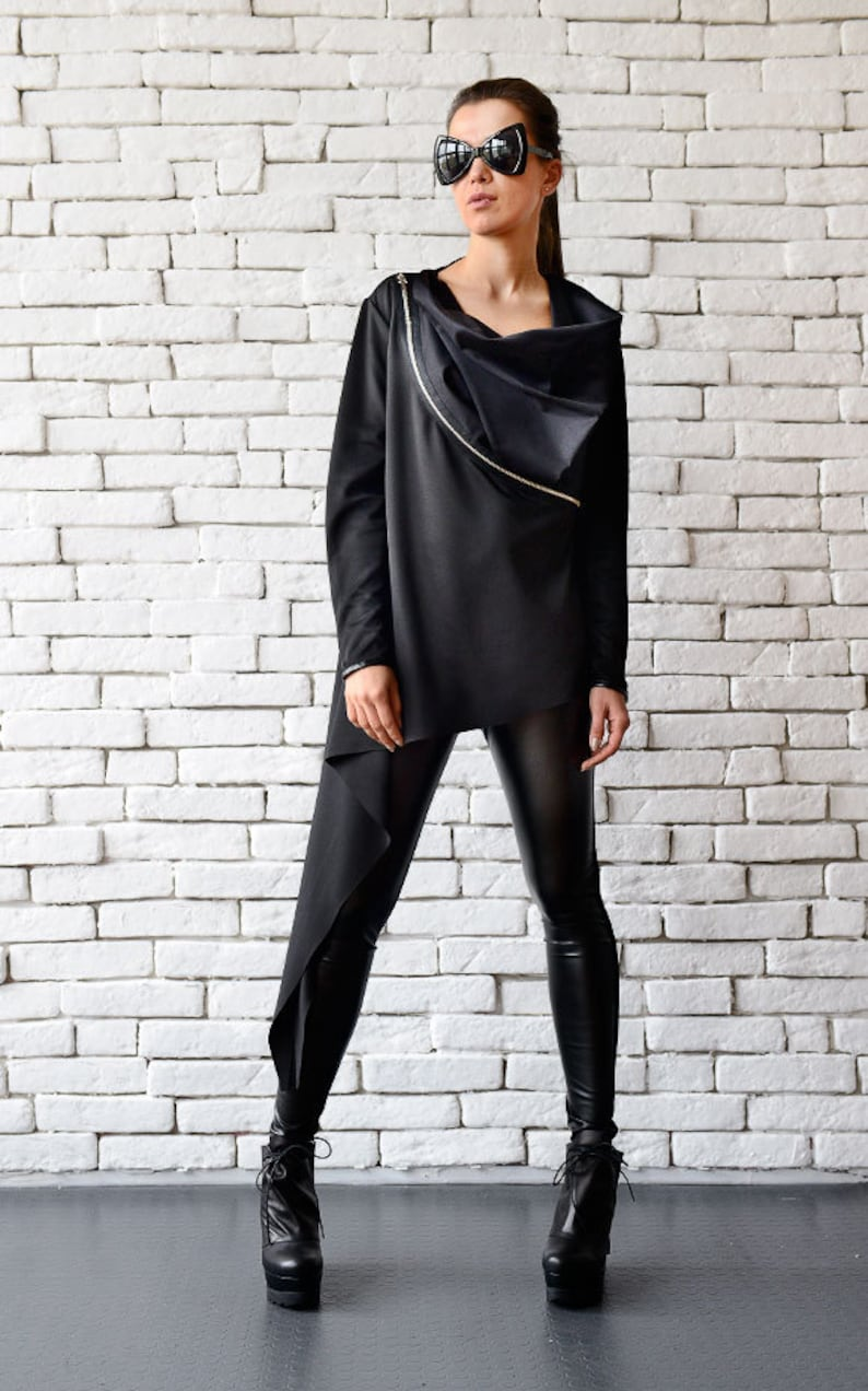 96417a8557 Extravagant Collar Top Oversize Black Tunic Long Sleeve