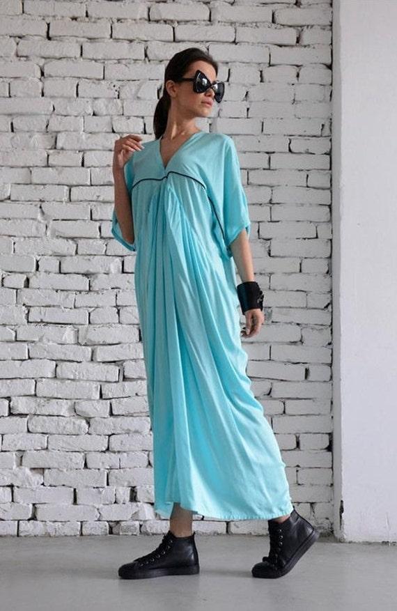 35% OFF Long Light Blue Kaftan/Loose Mint Dress/Plus Size Maxi Dress/Maxi Dress with Sleeves/Casual Oversize Long Tunic/Baby Blue Plus Size