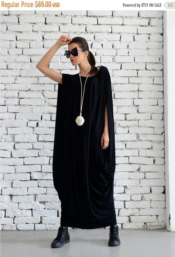 20% OFF Black Maxi Dress/ Extravagant Loose Kaftan/ Extra Large Long Tunic / Sleeveless Long Dress / Black Oversize Tunic / Plus Size Maxi D