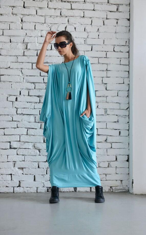 Mint Maxi Dress/Oversize Loose Kaftan/Oversize Light Blue Casual Dress/Plus Size Long Top/Extravagant Maxi Blue Dress/Baby Blue Party Dress