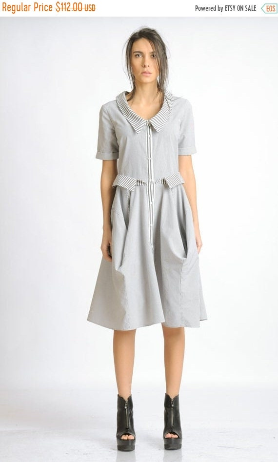 20% OFF Loose Short Sleeve Dress/White and Grey Stripe Dress/Casual Everyday Dress/Knee Length Dress/Extravagant Collar Button Dress METD011