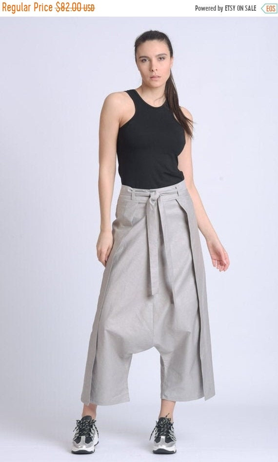 10% OFF NEW Grey Maxi Pants/Extravagant Loose Capris/Low Waist Zipper Pants/Wide Leg Trousers/Casual Long Pants/Calf Length Pants METP0067