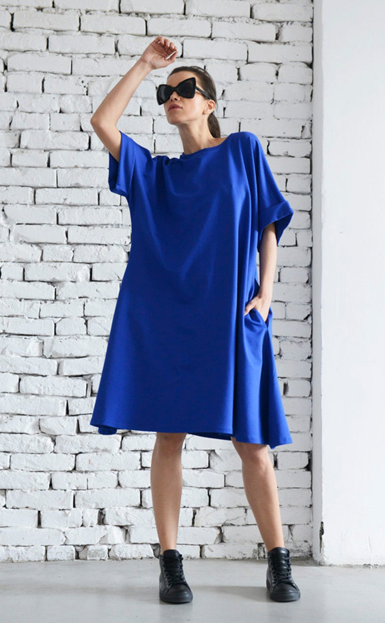 e250f4f695d Extravagant Short Maxi Dress Royal Blue Loose Kaftan Folded